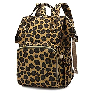 Diaper Bag Backpack, Large-capacity Fashion Nappy Bag Stroller Straps with 3 Thermal Pockets (Leopard)