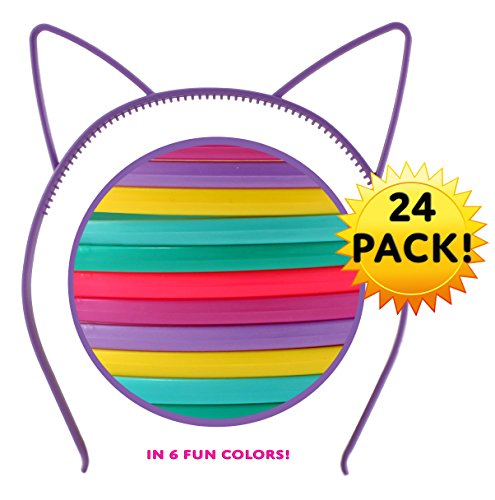 Cat Ear Headbands (24 pcs 6 colors) Hair Accessory Party Favor Dress up (Halloween Themed Crafts)