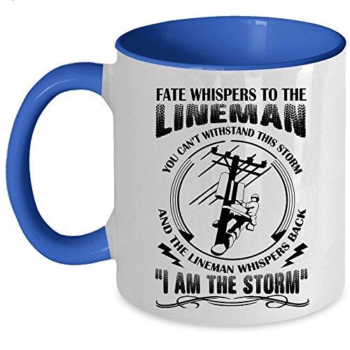 Awesome Gift For Linemans Coffee Mug, Lineman Accent Mug (Accent Mug - Blue)