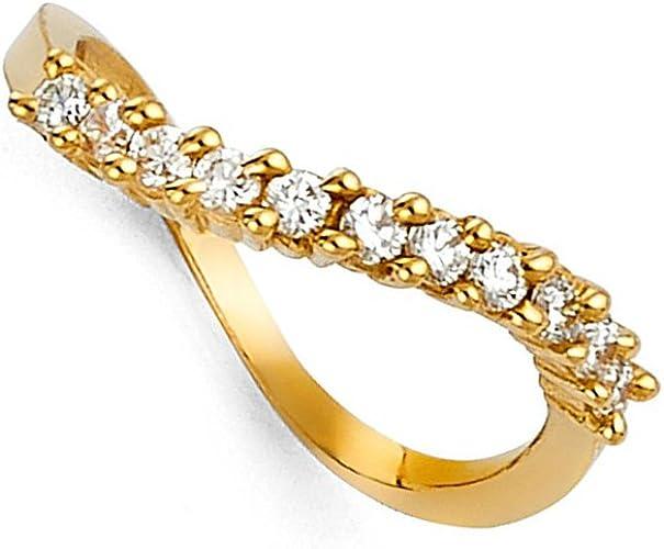Amazon Com Round Cz Wedding Band 14k Yellow Gold Bridal Cz Curved