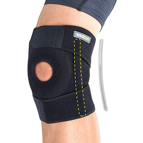 Bracoo Knee Stabilizer Brace, Open-Patella Support - Joint Pain Relief for Sprains, Arthritis, MCL, LCL, Sports Injury & Recovery - KP30 (Rod Brace)