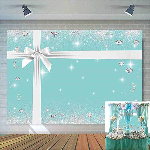 Allenjoy 7x5ft Breakfast Co Blue Bow-Knot Birthday Backdrop Sweet 16 Turquoise Bow Photography Background Bridal Shower Wedding Party Supplies Baby Bday Cake Table Banner Photobooth Props]()
