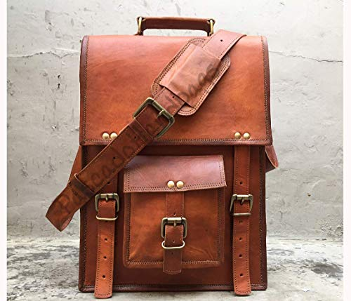 Pascado Vinatge handmade leather messenger laptop briefcase bag 15 inch crossbody shoulder satchel ipad bag mens womens Vertical