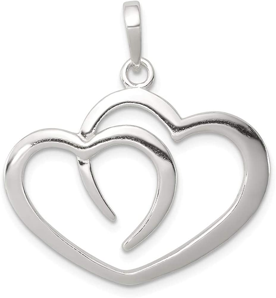 29mm x 27mm Solid 925 Sterling Silver Heart Pendant Charm
