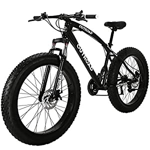Outroad Mountain Bike 21 Speed Anti-Slip Bike 26 inch Fat Tire Sand Bike Double Disc Brake Suspension Fork Suspension, White or Black