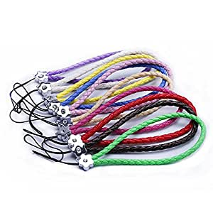 10 Braided Leather Cell Phone Wrist Strap Lanyard 0.16""