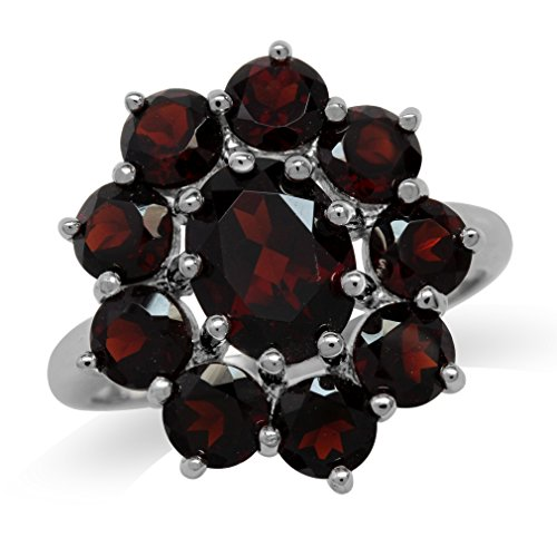 5.91ct. Natural Garnet White Gold Plated 925 Sterling Silver Flower Cluster Ring Size 9