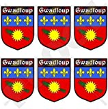 "GUADELOUPE Gwadloup Shield Gwada France, French Region, Lesser Antilles 40mm (1,6"") Mobile, Cell Phone Vinyl Mini Stickers, Decals x6"