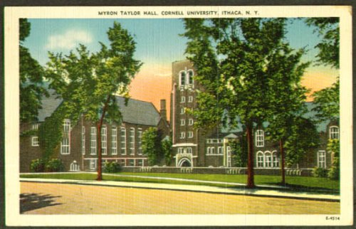 Spring Foliage - Taylor Hall Cornell University Ithaca NY postcard 1940s trees in spring foliage