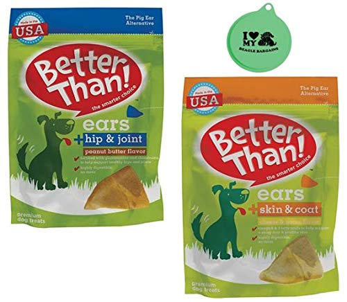Better Than Ears Premium Dog Treats 2 Flavor Variety Pack - (1) Hip & Joint Peanut Butter Flavor, (1) Skin & Coat Cheese & Bacon Flavor - 9 Count Pouch Each - Plus Can Cover (3 Items Total) ()