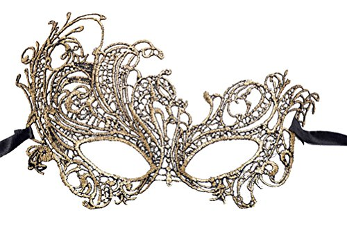 Flywife Lace Masquerade Ball Mask Venetian Swan Mardi Gras Halloween Costume Party Mask (A Gold Swan) - Mardi Gras Halloween Costumes