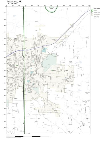 Amazon.com: ZIP Code Wall Map of Texarkana, AR ZIP Code Map ...