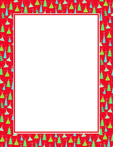 Geographics Christmas Tree Border Red & Gold Foil Letterhead, 8.5 x 11 Inches, Red Gold Foil, 25-Sheet Pack (49500) by Royal Consumer