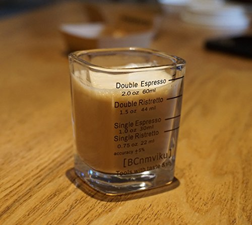 BCnmviku Espresso Shot Glasses Measuring Cup Liquid Heavy Glass for Baristas 2oz for Single Shot of Ristrettos (2 pack) by BCnmviku (Image #3)