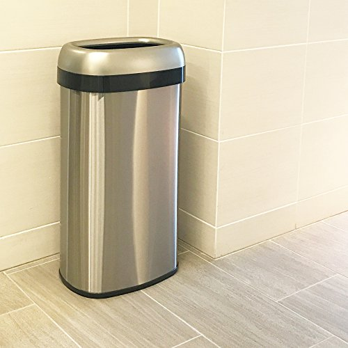 iTouchless 16 Gallon Dual-Deodorizer Oval Open Top Trash Can, Commercial Grade Stainless Steel, 60 Liter Open Garbage Can by iTouchless (Image #3)
