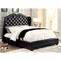 Furniture of America Victorian Leatherette Platform Bed, California King, Black
