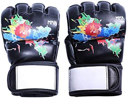 エクササイズ用 MMAグローブオープンパームレザーグラップリングミット ケージパンチングバッグのキックボクシングのファイティング 通気性 (Color : Black, Size : L)
