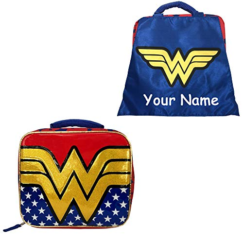 Personalized DC Comic Wonder Woman Back to School Insulated Lunchbox Lunch Bag with Detachable Cape for Custom Name