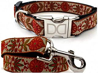 "product image for Diva-Dog 'Venice Ivory' Custom Medium & Large Dog 1"" Wide Dog Collar with Plain or Engraved Buckle, Matching Leash Available - M/L, XL"