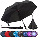 Repel Reverse Folding Inverted Umbrella with 2 Layered Teflon Canopy - Golf Umbrella with Reinforced Fiberglass Ribs (Black)