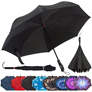 eecoo Pink Flower Inverted Double Layer Windproof UV Protection Reverse Folding Rain Umbrellas for Men and Women Sale
