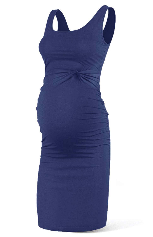 Rnxrbb Women Summer Maternity Tank Dress Sleeveless Pregancy Clothes Twist Front Dresses Knee Length