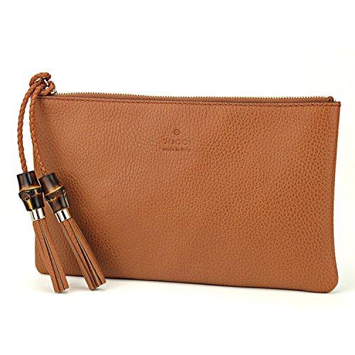 Gucci Large Tan Nude Leather Bamboo Tassel Clutch Bag - Handbags Women Gucci