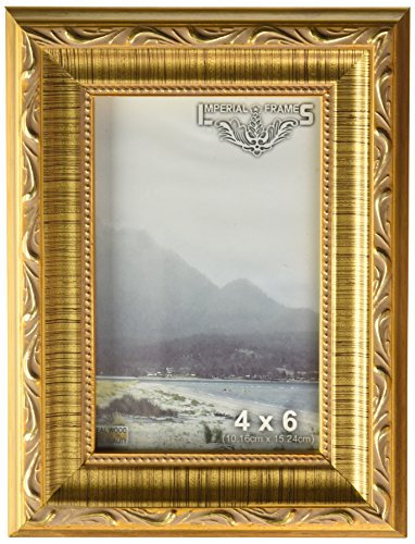 Gold Gesso Picture Frame Molding - Imperial Frames 8 by 10-Inch/10 by 8-Inch Picture/Photo/Certificate Frame, Dark Gold with Floral Design
