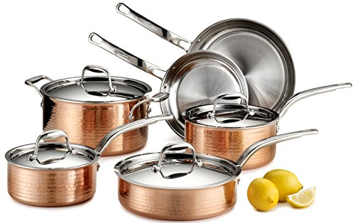 Lagostina Q554SA64 Martellata Tri-ply Hammered Stainless Steel Copper Oven Safe Cookware Set, 10-Piece, Copper by Lagostina