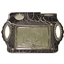 """Ultimate Judaica Challah Tray Wood & Silver Plated, 19.5"""" X 13"""""""