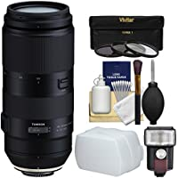 Tamron 100-400mm f/4.5-6.3 Di VC USD Zoom Lens with 3 UV/CPL/ND8 Filters + Flash & Diffuser Kit for Nikon Digital SLR Cameras