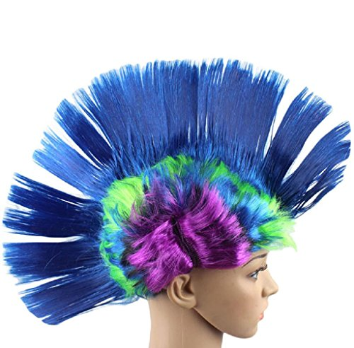 Anboo Hallowmas Masquerade Cosplay Party Punk Mohawk Mohican hairstyle Cockscomb Hair Wig (blue) -