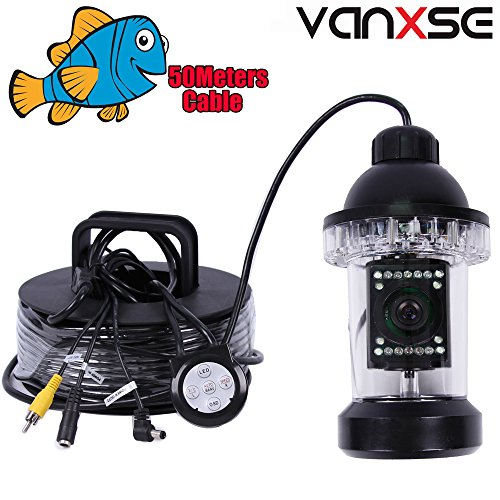 Vanxse Underwater Fish Camera Sony CCD 1000tvl Hd Underwater Video Camera 50m(165ft) Cable Fish Finder 360 Degree View Fish finder video camera by Vanxse