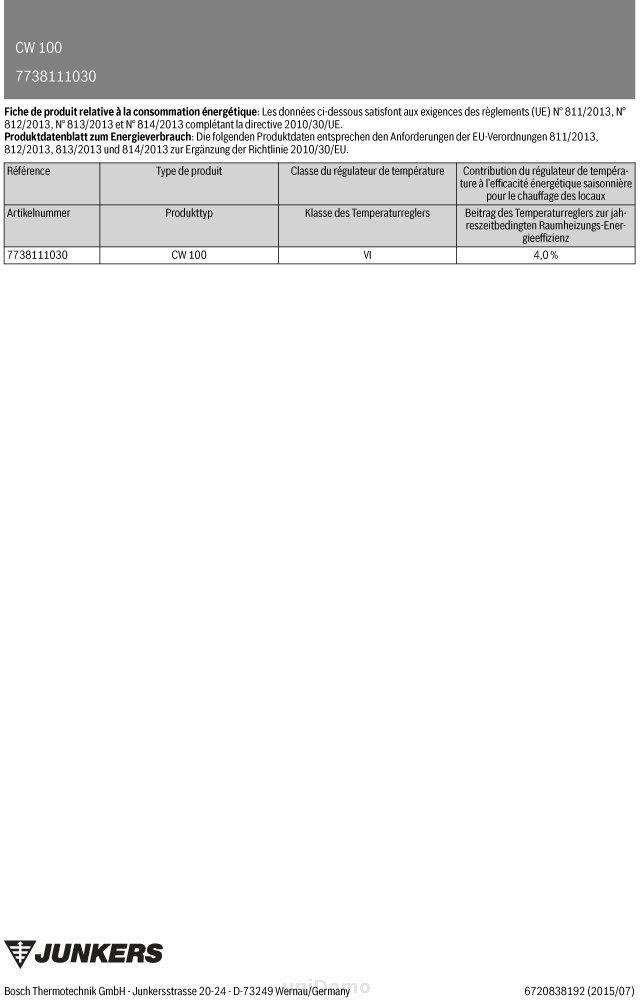 Junkers regulador CW 100 außentemperaturgeführt 7738111030: Amazon.es: Bricolaje y herramientas