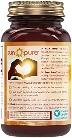 Sun Pure Premium Quality L-Lysine 500 mg Capsules Glass Bottle - Commonly Used for Cold Sores, Immune Support, Respiratory Health More - 120 Capsules Per Bottle