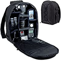 Camera Backpack by USA Gear - DSLR Case with Storage Dividers, Accessory Pockets & Waterproof Rain Cover - Works with Canon EOS Rebel T6, Nikon D3300, Sony Alpha A9/7S II & More DSLR Cameras