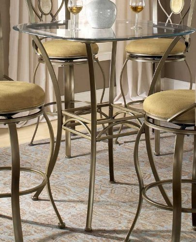 Bar Height Bistro Table With Beveled Glass Top   Brookside
