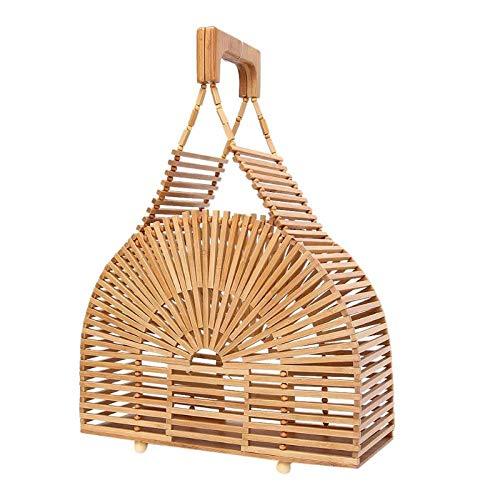 Onemoret Simple vacanza borse Hollow superiore spiaggia ragazze vintage donne Fashion maniglia borse Totes Bamboo Out UqawUT4x