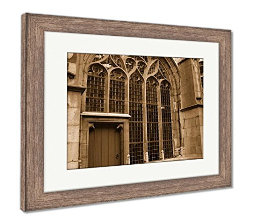 Abbey Stained Glass Print - Ashley Framed Prints Middelburg The Netherland Abbey Stained Glass Red Door, Wall Art Home Decoration, Sepia, 30x35 (frame size), Rustic Barn Wood Frame, AG6091615
