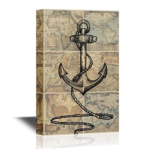 Anchor with Rope on Vinage World Map Background