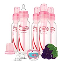 Dr Brown's 8-Ounce Standard 5-pack Bottles Girl Gift Set with Pacifier/Teether/Nipples