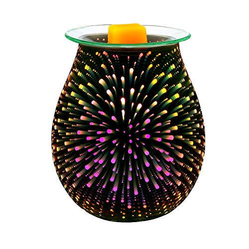 Electric Oil Warmer COOSA 3D Effect Starburst Fireworks Glass Wax Tart Burner Fragrance Candle Warmer Incense Oil Night Light Aroma Decorative Lamp for Gifts, Decor for Home Office (Candle Warmer Sunflower)