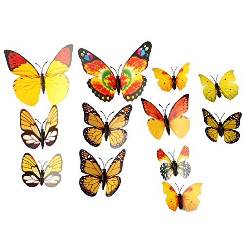 12PCS 3D PVC Magnet Butterflies DIY Wall Sticker Home Decor Yellow - 8