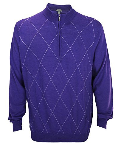 Ashworth Men's Diamond Merino Wool Half Zip Sweater (Large, Blue Violet)