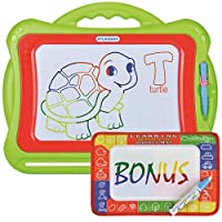 Large Magnetic Drawing Board for Kids and Toddlers | Colorful Erasable Magna Doodle Pad Plus Magic Aqua doodle | Educational Toy Kids Learn To Write and Draw | for All Ages - Girls and Boys