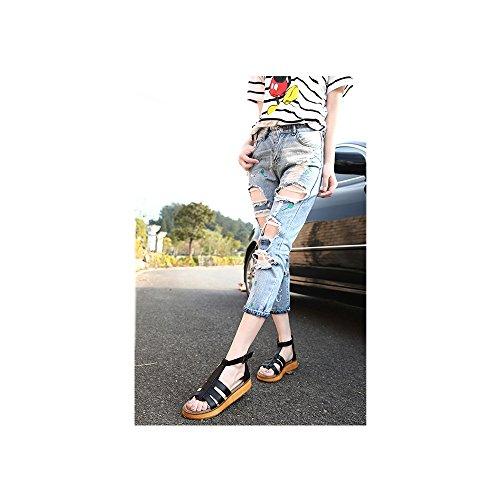 OCHENTA Sandalias con tiras planas metalizadas con hebilla para mujer Negro