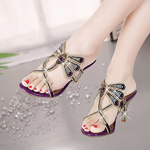 Heel Sandals Crystal High Heeled Female Rhinestone High Violet AGECC Sandals Diamond w180czq