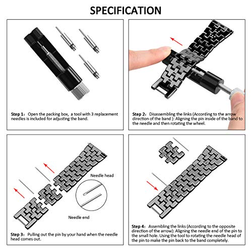 Goton Jewelry Band Compatible Samsung Galaxy Watch 42mm Band, Women Men Bling Diamond Jewelry Replacement Strap Bracelet Compatible for Galaxy Watch 42mm , Active 40mm, Active 2 40mm 44mm (Black 20mm)