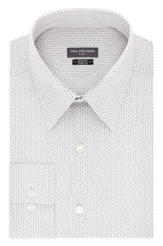 "Van Heusen Men's Dress Shirt Flex Collar Stretch Slim Fit Print, Rock, 17.5"" Neck 34"