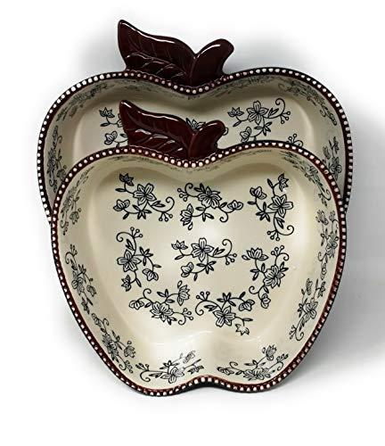 Temp-tations 2-piece Apple Bakeware Set w/ 3 qt & 2 qt Bakers (Floral Lace Black)
